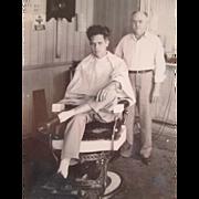 SOLD Vintage Interior Photograph Barbershop Black And White Framed