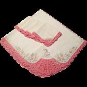 SOLD Tablecloth Napkins Set Vintage 1930s Sunbonnet Sue Embroidery Pink Lace