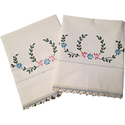 SOLD Cotton Pillowcases Vintage 1930s Tatting Lace Embroidery Pair