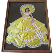 SOLD GWTW Ribbon Art Paper Doll Vintage 1940s Scarlet O Hara Framed Picture