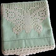 SOLD Guest Towel Vintage 1930s Green Butterfly Crochet Filet Lace