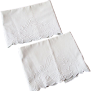 SOLD White Cotton Pillowcases Vintage 1930s Floral Designs Pair
