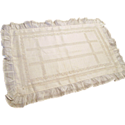 Antique Edwardian Lace Pillowcase Drawnwork Linen Ruffle Hemstitching