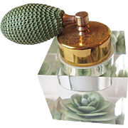 Lucite Perfume Atomizer Vintage 1950s Reverse Carved Green Jane-Art