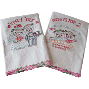 Cat Wedding Pillowcases Vintage 1950s Bride Groom Honeymoon Embroidery Cotton Lace