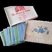 SOLD Deadstock Ramie Linen Placemat Napkin Set Vintage 1950s Applique Flowers