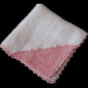 SOLD Irish Linen Hanky Hankie Vintage 1940s Pink Crocheted Lace Heart Valentine's Day NWT