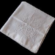 SOLD Hanky Hankie Vintage 1940s S Monogram Embroidery Gauze Cotton