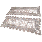 Pair Antique Lace Dresser Scarves Italian Knotted Filet Hearts Valentine's Day