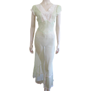 Vintage 1930s Negligee Lingerie Nightgown Green Nylon Lace Bias Cut