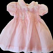 Girls Pink Dress Vintage 1950s Nylon Valentine's Day Easter 2T