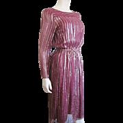 Lord And Taylor Vintage 1970s Designer Dress Burgundy Gold Metallic Rope Belt