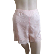 Silk Lingerie Bloomer Vintage 1940s High Waist Pink Lace Panties