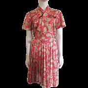 Vintage 1970s Secretary Dress Pussycat Bow Pleated Skirt L - XL
