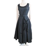 Suzy Perette Vintage 1950s Black Taffeta Swing Dress Beads Rhinestones Like New!