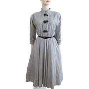 Vintage 1950s Swing Dress Plaid Joundstooth Cotton Full Circle Jennifer Gee