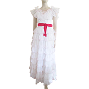 Ruffle Gown Dress Vintage 1950s Prom Formal Wedding Red White