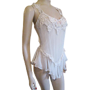 Saks Fifth Avenue Camisole Body Suit Ruched Ivory Satin Lace Bridal Wedding