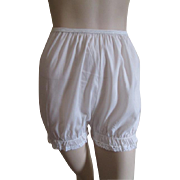 White Cotton Bloomers Pettipants Vintage 1950s Lace Trim