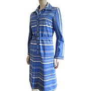 Striped Dress Vintage 1970s Blue White Belt David Crystal Fashion