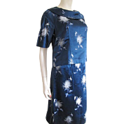 Asian Silk Mod Suit Vintage 1960s Hong Kong Navy White Skirt Jackie Jackie O