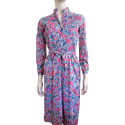 Floral Dress Vintage 1970s Wildflower Ruched With Belt