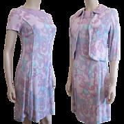 Lavender Linen Dress Bolero Jacket Vintage 1950s Womens Print Suit