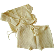 Baby Sweater Shorts Set Vintage 1930s Handmade Knit Toddler Yellow