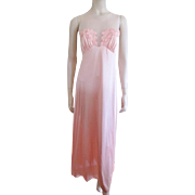 Vanity Fair Negligee Bubblegum Pink Vintage 1960s Maxi Length Sheer Floral B34
