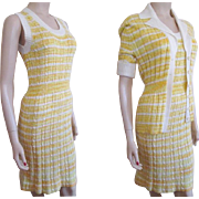 Yellow Sweater Dress Set Vintage 1970s Banff Stretch Cardigan