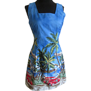 Hawaiian Novelty Print Dress Vintage 1980s Blue Cotton Beach Wear