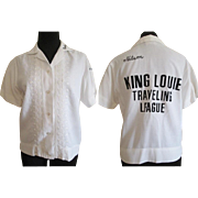 Vintage 1950s Womens Bowling Shirt King Louie White Embroidery