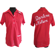Womens Bowling Shirt Vintage 1970s Red Nat Nast