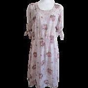 Vintage 1970s Sheer Floral Dress Open Shoulder