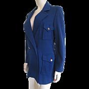 Blue Knit Long Womens Jacket Vintage 1950s Softstar Knitwear