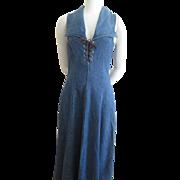 Vintage 1970s Sleeveless Denim Dress With Corset Bodice