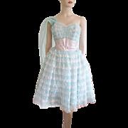 Vintage 1950s Dress Party Prom Bridesmaid Crumb Catcher Ruffles Sash