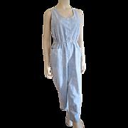 SALE PENDING Jumpsuit Acid Wash Vintage 1980s Denim Chambray Sleeveless Pearl Snap