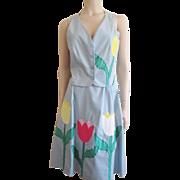 Vintage 1960s Vest Skirt Set Tulip Applique Spring Flowers