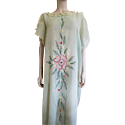Flapper Peasant Dress Vintage 1920s Green Gauze Hand Embroidered Lace Trim