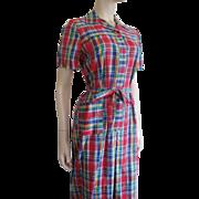 Plaid Shirt Dress Vintage 1950s Nancy Frock Never Worn