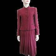Womens Wool Suit Vintage 1970s Jacket Pleated Skirt Sasson Wine Burgundy