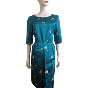 Teal Silk Asian Wiggle Dress Vintage 1950s Hong Kong Handmade Medos