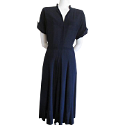 Vintage 1940s Navy Blue Crepe Dress