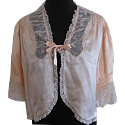 Vintage 1930s Silk Lace Bed Jacket Lingerie May Company Los Angeles