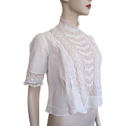 Antique Edwardian Blouse White Cotton Pintuck Lace Crocheted Buttons