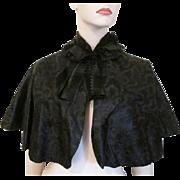 Antique Victorian Black Silk Womens Cape