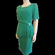 Saks Fifth Avenue Green Dress Vintage 1980s Rhinestone