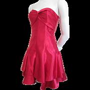 Gunne Sax Red Dress Vintage 1980s Satin Strapless Valentine's Day