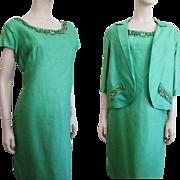 Mod Green Silk Faille Suit Vintage 1960s Dress Jacket Beaded Samuel Grossman Larger Size